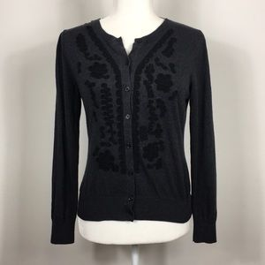 Banana Republic Silk Embroidered Cardigan Sweater